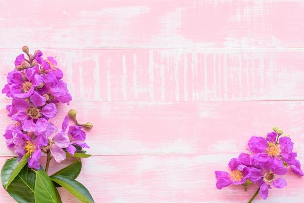 Flores roxas em um fundo de madeira cor-de-rosa brilhante pastel.