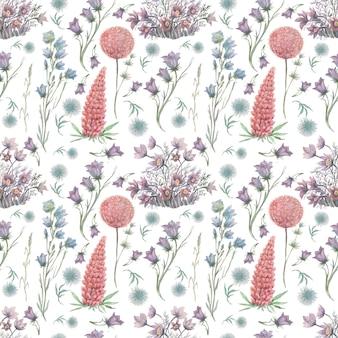 Flores samambaias plantas florestais deixa aquarela ilustração desenhada à mão