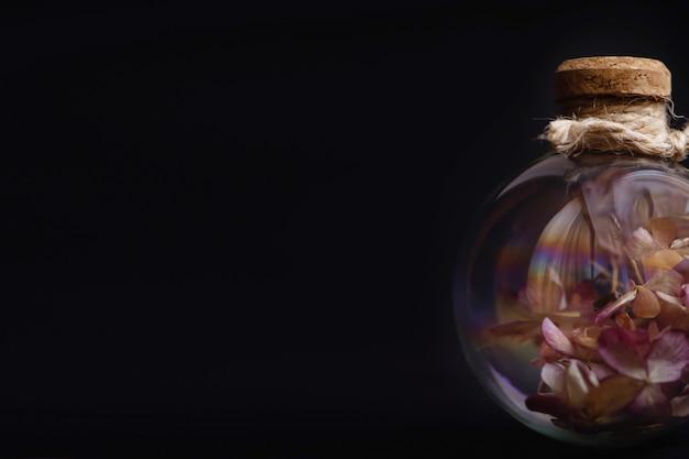 Flores secas dentro do bulbo de vidro em fundo preto