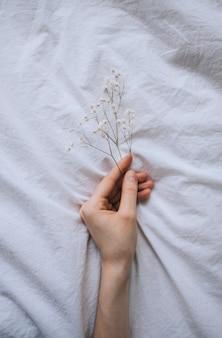 Flores secas em uma mão feminina em um fundo de pano branco.