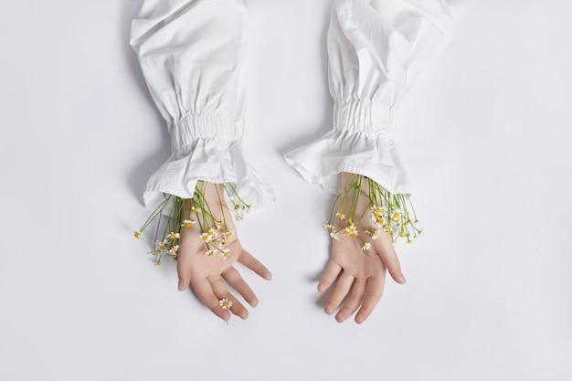 Flores silvestres brancas nas mãos. menina vestido branco