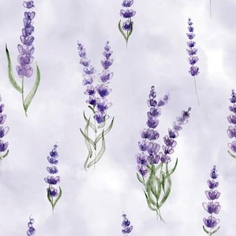 Flores silvestres flores de lavanda em delicado fundo de ternura padrão botânico sem costura
