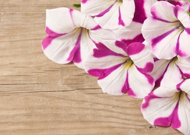 Flores sobre fundo de madeira
