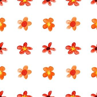 Flores vermelhas infantis em aquarela - padrão floral sem emenda