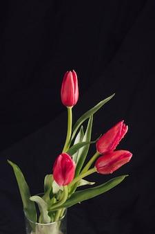 Flores vínicas aromáticas com folhas verdes em orvalho em vaso
