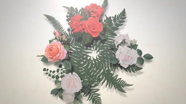 Flores vintage closeup, plano de fundo do casamento. ilustração 3d elegante e luxuosa em estilo pastel