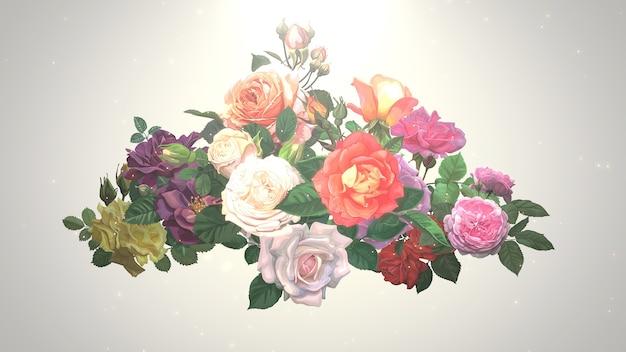 Flores vintage closeup, plano de fundo do casamento. ilustração elegante e luxuosa em estilo pastel