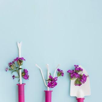 Flores violetas em ferramentas de jardinagem