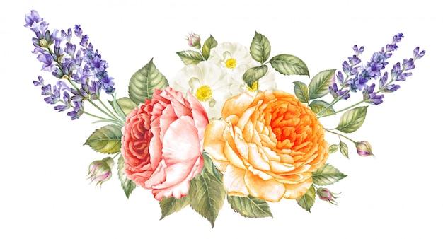 Florescer flores de rosas e lavanda.