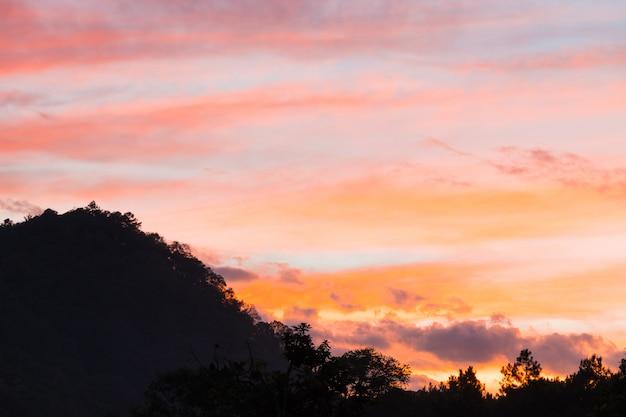 Floresta e montanha no pôr do sol.