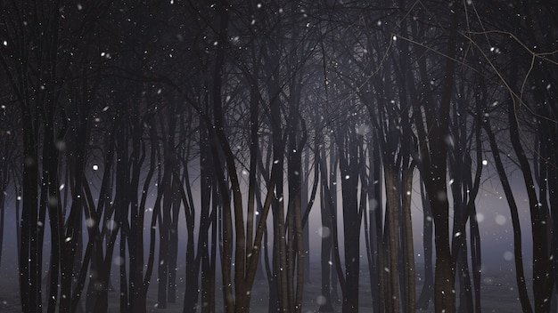 Floresta nevado 3d