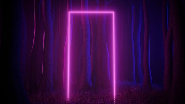 Floresta nevoenta mística em iluminação neon ultravioleta com portal de trilhas de luz. cena escura e misteriosa. ilustração 3d