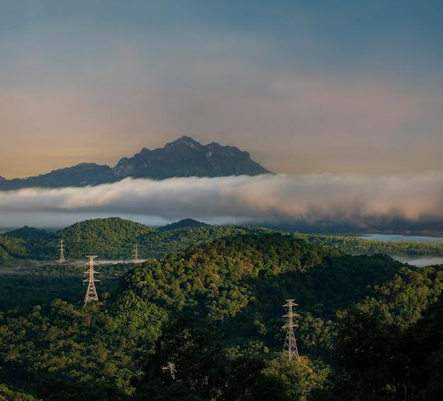 Floresta vista aérea na névoa da manhã, montanhas de respiração,