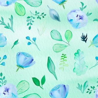 Florial aquarela mão desenhada padrão