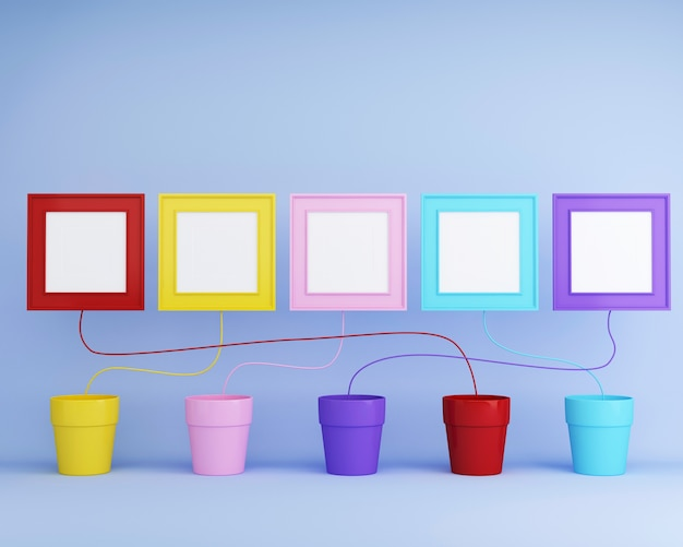 Flowerpot colorido com frame de retrato colorido no fundo azul. idéia de conceito mínimo.
