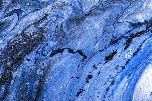 Fluido acrílico art. pedra ou textura abstrata. texturas líquidas de mármore preto, branco e azul