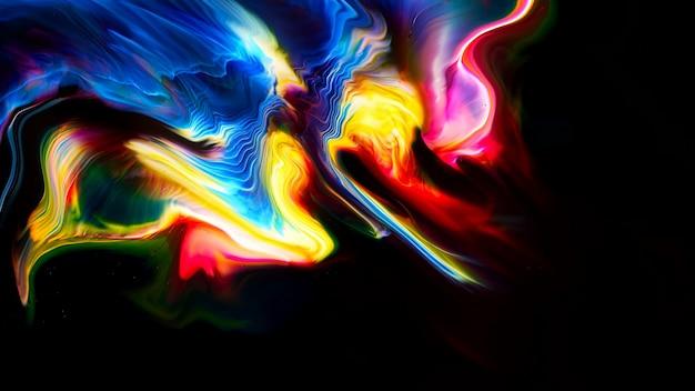 Fluido líquido arte tintas a óleo acrílico textura. efeito de pintura de mistura abstrata de pano de fundo. a arte em acrílico de cor líquida flui respingos. textura fluida de arte transbordando de cores Foto Premium