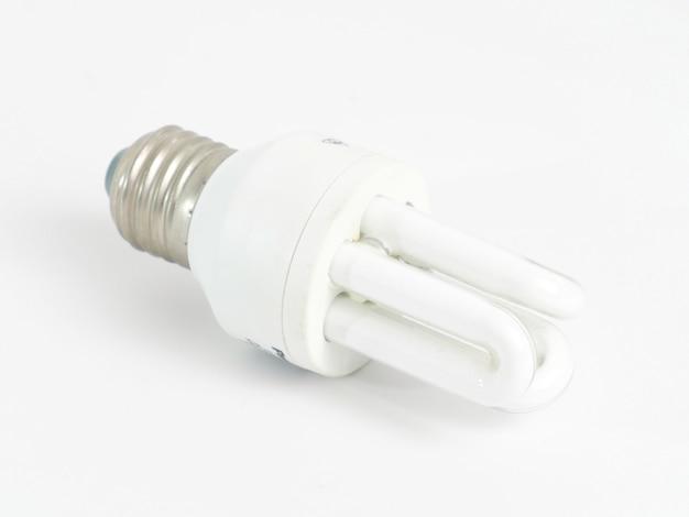 Fluorescente compacta em uma imagem de fundo branco