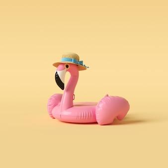 Flutuador de flamingo no conceito mínimo de parede amarela.