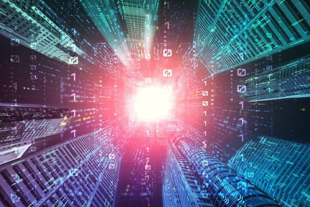 Fluxo de dados digitais na cidade cibernética