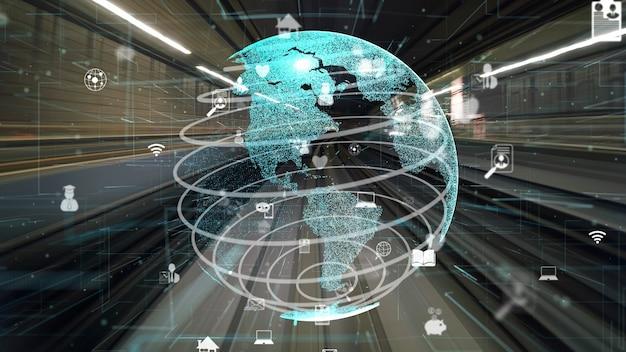 Fluxo de dados digital rápido na estrada com modernização gráfica da rede global