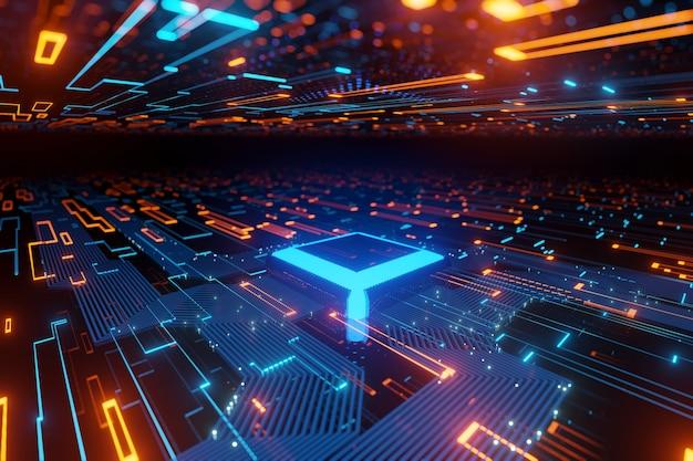 Fluxo de dados do microchip futurista abstrato em uma renderização 3d de fundo claro brilhante da placa-mãe