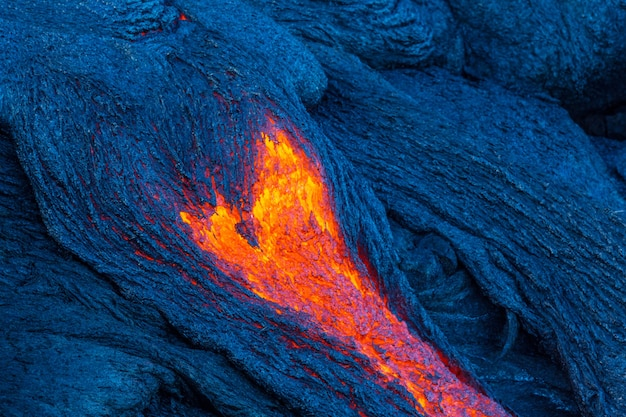 Fluxo de lava na ilha grande, havaí