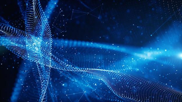 Fluxo de onda de partículas digitais e torção abstrata conceito de fundo de tecnologia de movimento