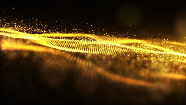 Fluxo de partículas de onda cintilante cor ouro digital e bokeh abstrato