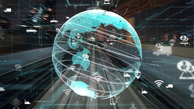 Fluxo de transporte rápido na estrada com modernização gráfica da rede global