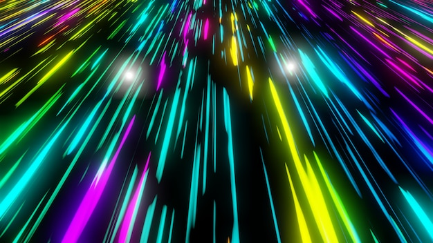 Fluxo futurista de luz de néon colorido comunicação de dados voando em animação tecnológica digital renderização em 3d