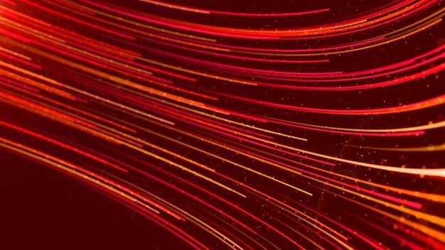 Fluxo futurista vermelho fluxo de linha digital com fundo abstrato de poeira e partículas