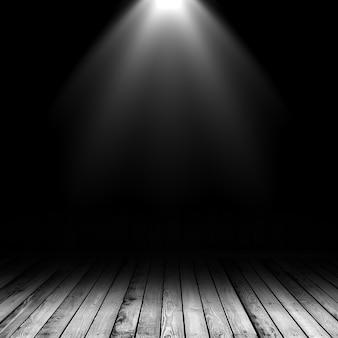 Foco 3d brilhando em um interior grunge com piso de madeira