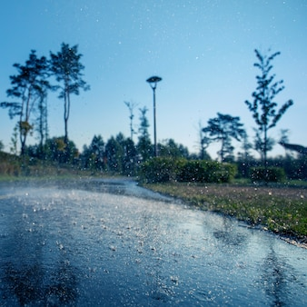 Foco seletivo da marcação do asfalto dos pingos de chuva. plano de fundo close-up