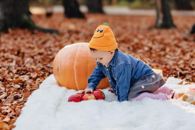Fofinho filho no parque na folha amarela com abóbora no outono