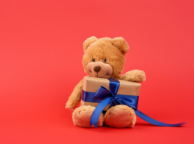 Fofo ursinho marrom detém uma caixa marrom com uma fita azul
