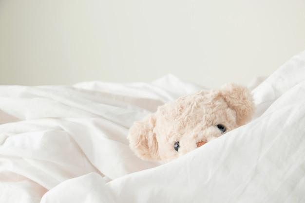 Fofo urso de pelúcia brincar de esconde-esconde com tecido