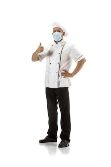 Fogão, chef, padeiro de uniforme isolado no branco