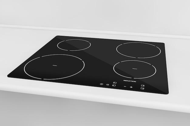 Fogão de indução cooktop com móveis de cozinha