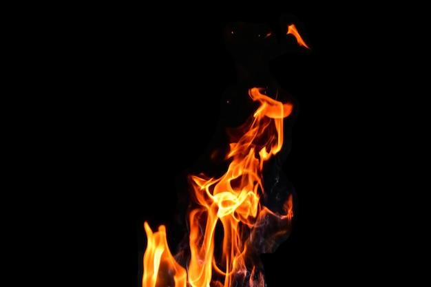 Fogo, chamas em um fundo preto isolado. conceito fogo grill calor fim de semana churrasco.