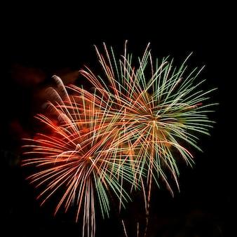Fogo de artifício colorido em preto