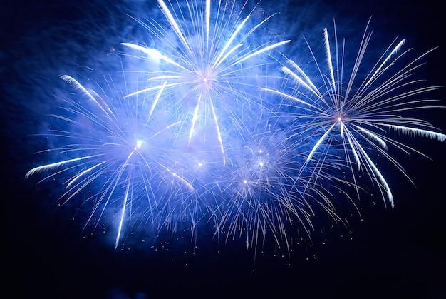 Fogos de artifício azuis coloridos de férias no céu negro