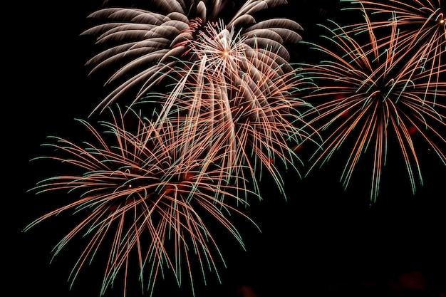 Fogos de artifício coloridos em um fundo de céu noturno