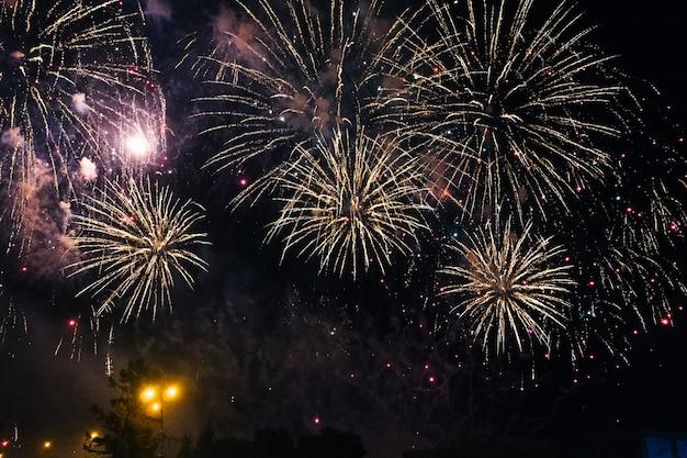 Fogos de artifício coloridos festivos no fundo um céu noturno