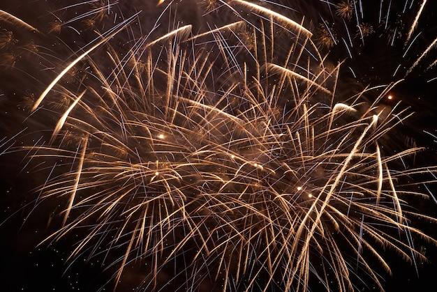 Fogos de artifício coloridos nas férias no fundo do céu negro.