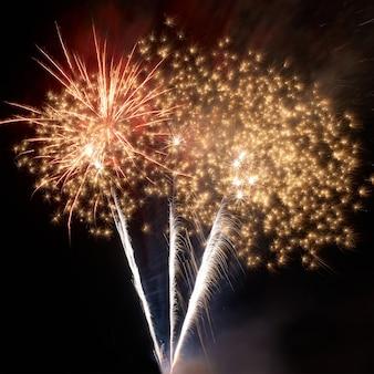 Fogos de artifício coloridos no fundo do céu negro