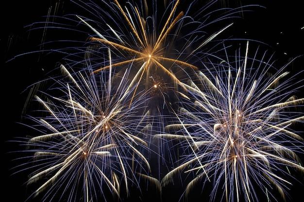 Fogos de artifício de férias coloridos azuis no fundo do céu negro.