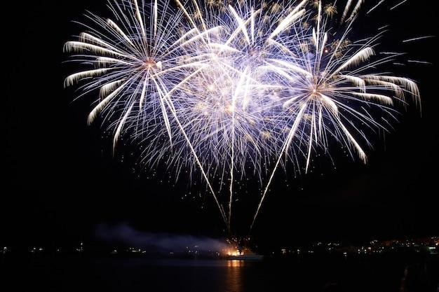 Fogos de artifício de férias coloridos vermelhos e roxos no céu negro.