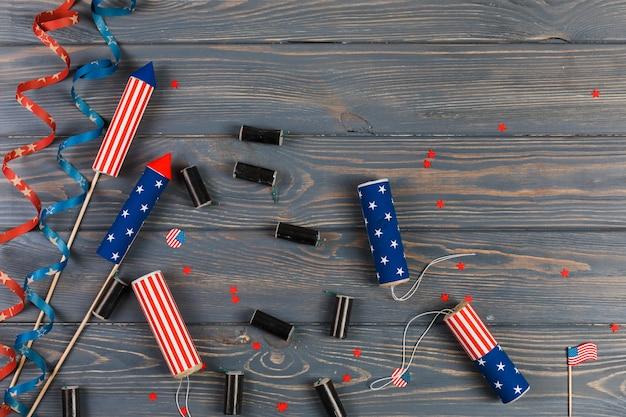 Fogos de artifício e decoração para o dia da independência