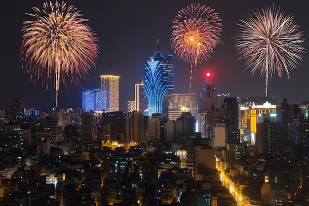 Fogos de artifício em macau (macau), china